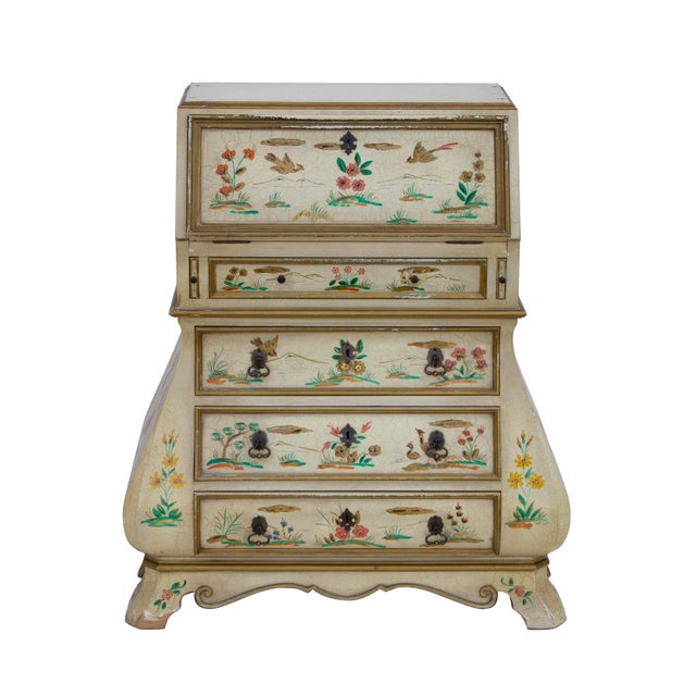 Cream crackle glaze handpainted chinoiserie secretary desk with chest of drawers. Flocked red upper shelves and bombe...