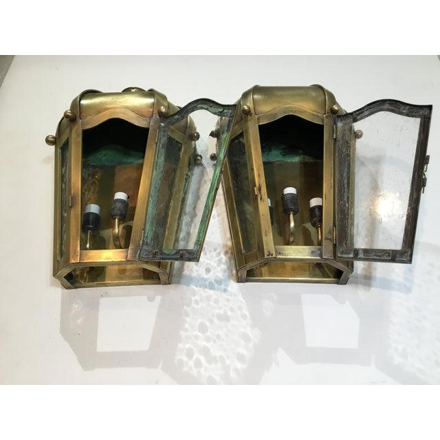 Hand Crafted Wall Mounted Brass Lanterns - A Pair For Sale In Miami - Image 6 of 11