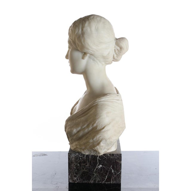 Antique Italian Marble Bust of a Female For Sale - Image 11 of 11