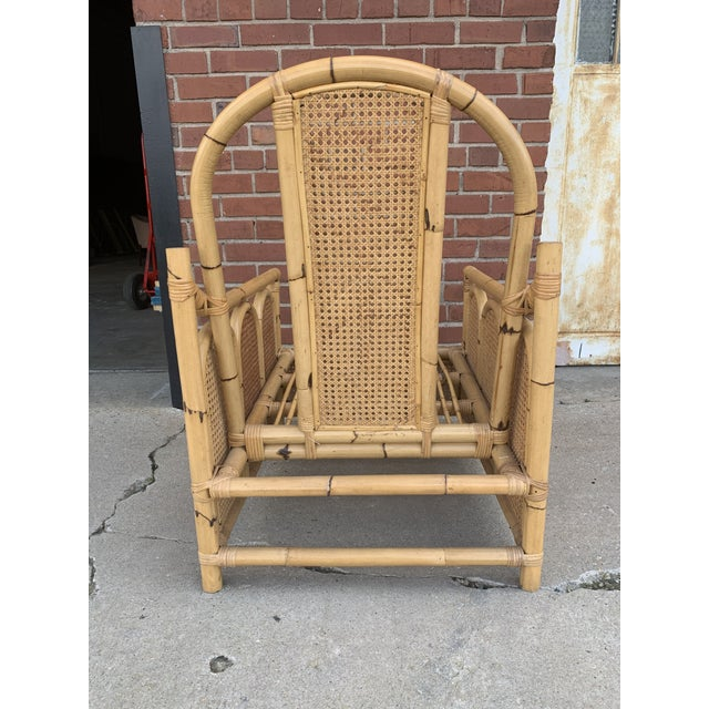 Bamboo Rattan Chair With Caning For Sale - Image 4 of 5