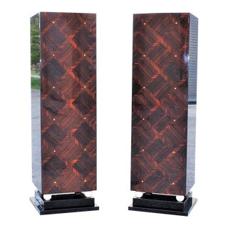 1940s French Art Deco Exotic Macassar Ebony Pedestals M-O-P Accents - a Pair For Sale