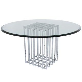 Pierre Cardin Chrome Cage Form Pedestal Dining Table