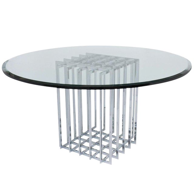 Pierre Cardin Chrome Cage Form Pedestal Dining Table For Sale