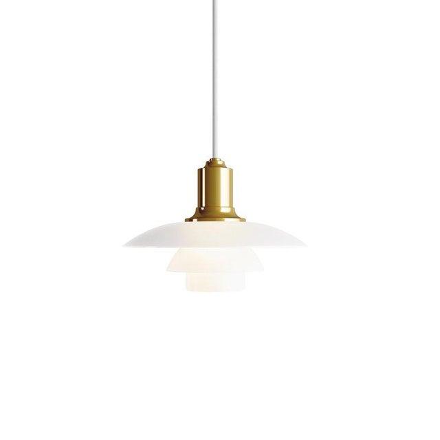 White Poul Henningsen Ph 2/1 Brass & Glass Pendant for Louis Poulsen For Sale - Image 8 of 8
