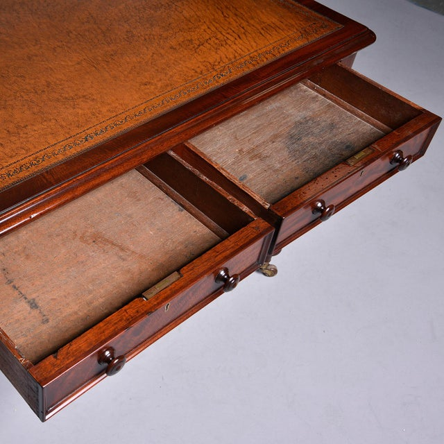 Late 19th Century English Mahogany Desk With Leather Top For Sale - Image 10 of 13