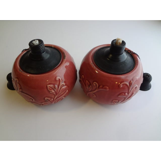 Enamel Tabletop Smudge Pot Torches - A Pair - Image 3 of 7