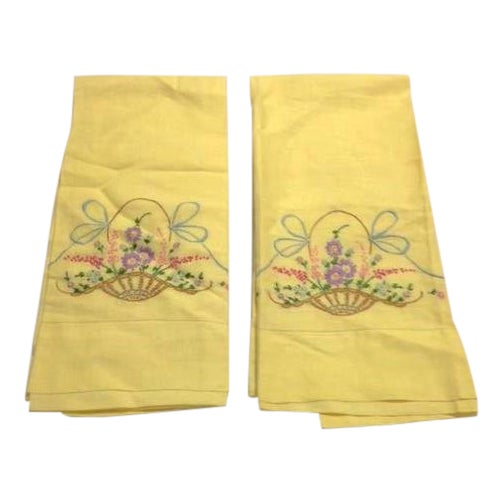 Never-Used Yellow Embroidered Pillowcases - A Pair - Image 1 of 5