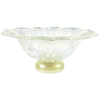 Barovier Toso Murano Iridescent Gold Flecks Italian Art Glass Centerpiece Bowl For Sale