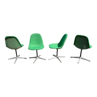 Rare Set of 4 Vintage Swivel Pkc Eames Wire Chair for Herman Miller Original Gerard Fabric For Sale