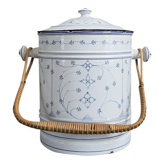 French Enamel Vessel With Wicker Handle For Sale