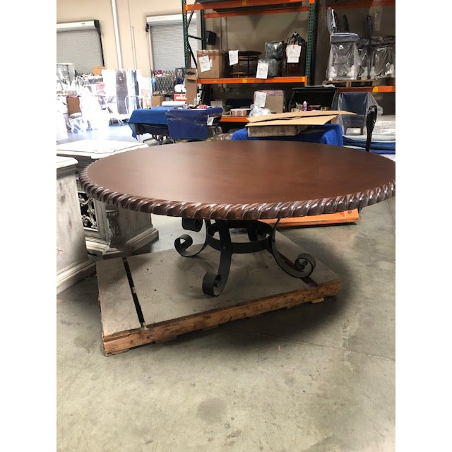 """Custom hand carved 78"""" round dining table with iron base by Pennisula Home Collection with scalloped detail and beautiful..."""