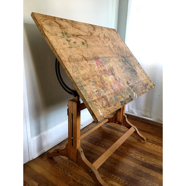 Antique American Adjustable Drafting Desk Table For Sale In Savannah - Image 6 of 9