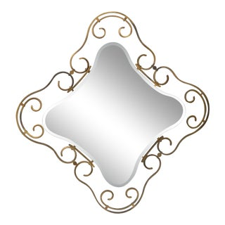 French Vintage Brass Frame Mirror For Sale