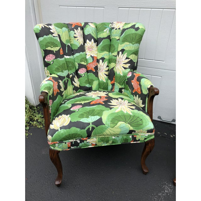 Carved Wood Upholstered Koi Fabric Scallop Back Chairs - Set of 2 For Sale - Image 4 of 8