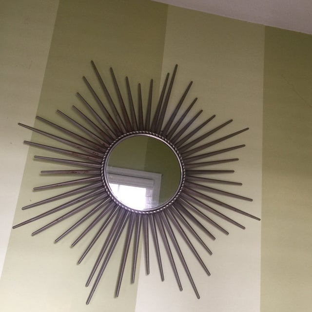 Large Metal Starburst Mirror With Age And Wear Can Be Painted Gold Upon Request