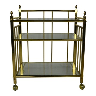1970s Brass Bar Cart For Sale