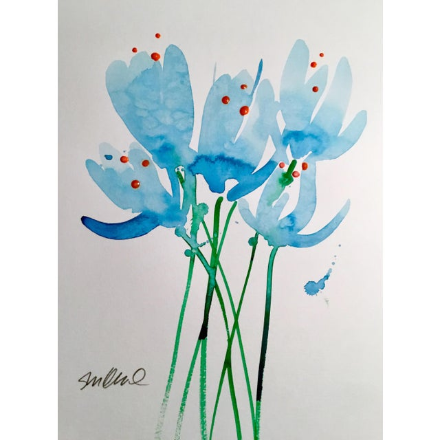 """Contemporary """"Blue Buds"""" Watercolor Painting For Sale - Image 3 of 3"""