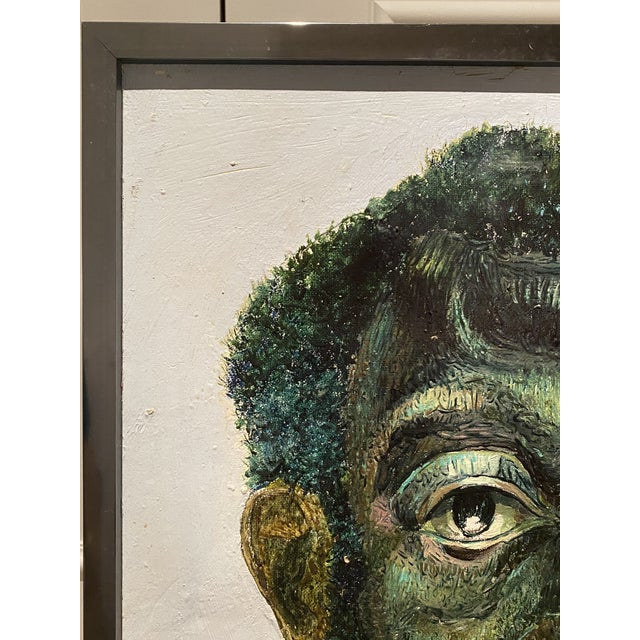 "Original Self-Portrait by Artist Roman E. Johnson, ""Self-Portrait With Green Apples"" (1984) For Sale - Image 4 of 10"