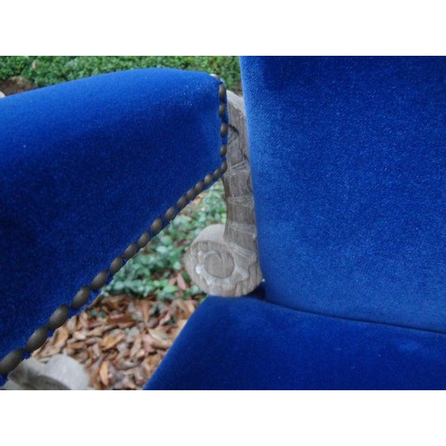 Blue French 1940's Cerused Oak Chairs Attributed to Francisque Chaleyssin - a Pair For Sale - Image 8 of 13