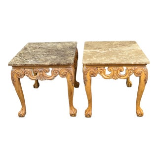 Chippendale Marble Mahogany End Tables - a Pair For Sale