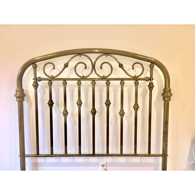 Traditional Antique Brass Headboard For Sale - Image 3 of 5