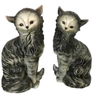 Black & White Cat Figurines - A Pair
