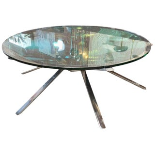 MA39's Custom Magnifying Lens Coffee Table With Stainless Base For Sale