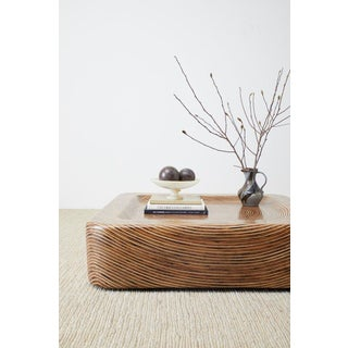 Organic Modern Bamboo Rattan Strip Inlay Cocktail Table Preview