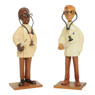 Romer Vintage Hand Carved Wood Doctor Figurines Statues - a Pair For Sale