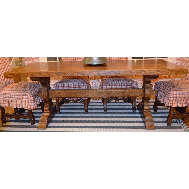 French Country Trestle Farm Table For Sale - Image 4 of 10