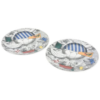 Piero Fornasetti Hot Air Balloon Race Porcelain Plates - a Pair For Sale