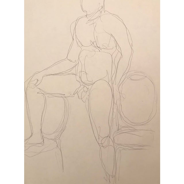 20th Century Contemporary Drawing of a Muscular Male Nude Model by James Frederic Bone For Sale
