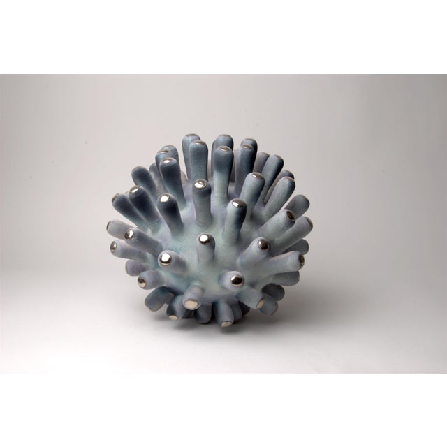Abstract Platinum Tipped Green Bulbus, Porcelain Sculpture by Eva Zethraeus For Sale - Image 3 of 4