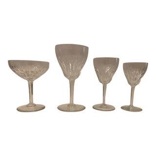 Val St. Lambert Crystal Glasses Vintage Goblets - Set of 38 For Sale