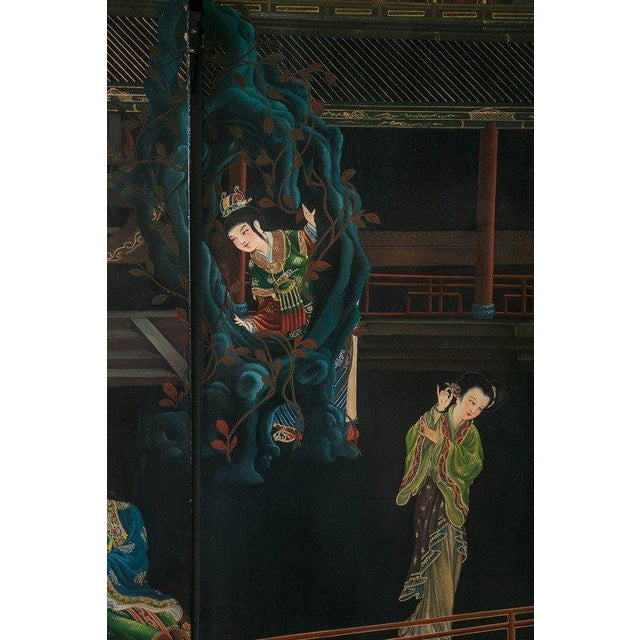 Asian 1930s Chinese Lacquered Six-Panel Screen For Sale - Image 3 of 8