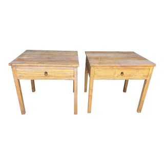 Distressed Whitewash Natural Side Tables/Nightstands - a Pair