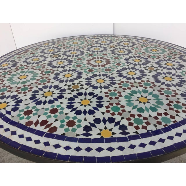 Islamic Moroccan Round Mosaic Outdoor Tile Table in Fez Moorish Design For Sale - Image 3 of 10