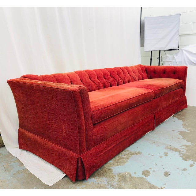 Hollywood Regency Vintage Chesterfield Style Tufted Button Back Sofa For Sale - Image 3 of 13