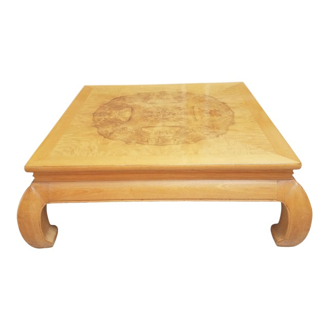 Asian Ming Henredon Burl Wood Coffee Table For Sale