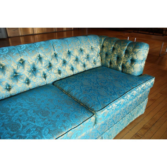 Fabric Blue and Gold Tufted Sofa by Howard Palmer for Harmony House For Sale - Image 7 of 11