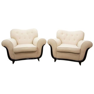 1940s Guglielmo Ulrich Italian Art Deco Lounge Chairs - a Pair For Sale