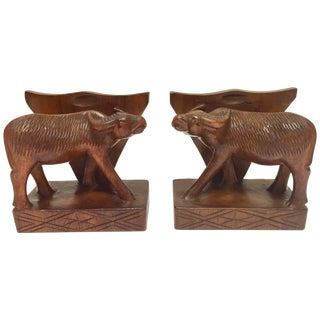 Hand-Carved Wooden Sculpture of African Buffalo Bookends For Sale