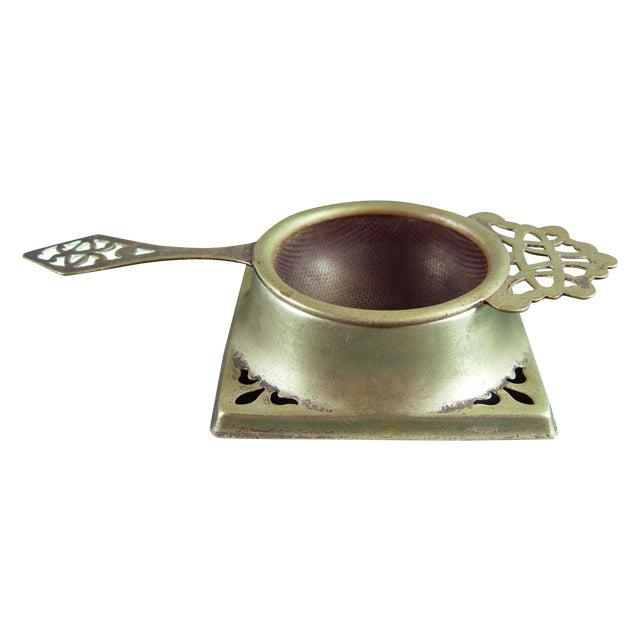 Vintage English Tea Strainer & Stand For Sale