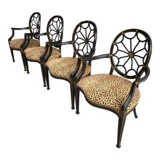 Hepplewhite Style Web Back Armchairs Leopard Print- Set of 4 For Sale