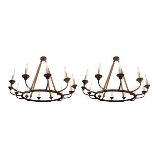 Pair of Twelve-Arm Metal Chandeliers of Large-Scale. Priced Per Chandelier For Sale