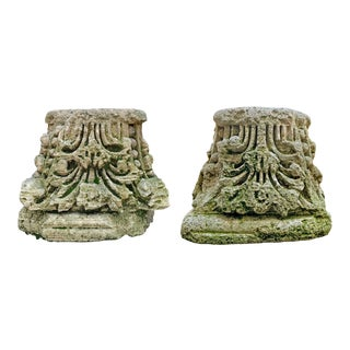18th Century English Carved Stone Capitals - a Pair For Sale