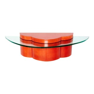 Parchment & Glass Floating Wall Console For Sale