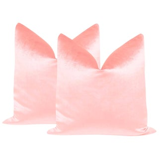 "22"" Pink Peony Velvet Pillows - a Pair For Sale"
