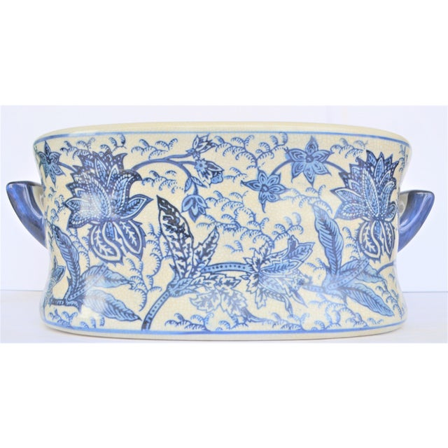 2010s Vintage Large Floral Chinoiserie Blue & White Foot Bath For Sale - Image 5 of 5