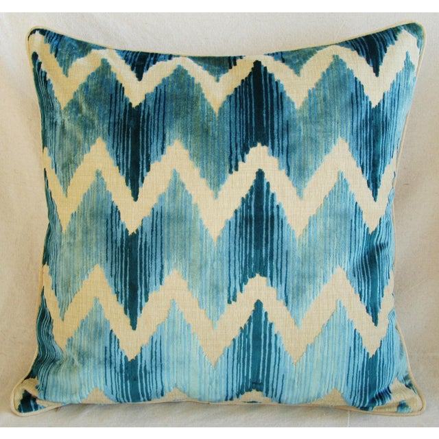 "Early 21st Century Boho Chic Chevron Flamestitch Cut Aqua Velvet Feather/Down Pillows 24"" Square - Pair For Sale - Image 5 of 15"
